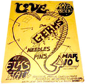 Darby Crash The Germs club flyer